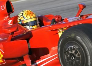Rossi en los entrenamientos con Ferrari