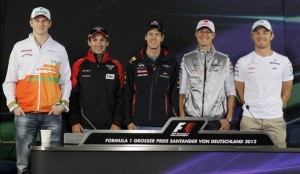 Hulkenberg, Glock, Vettel, Schumacher and Rosberg