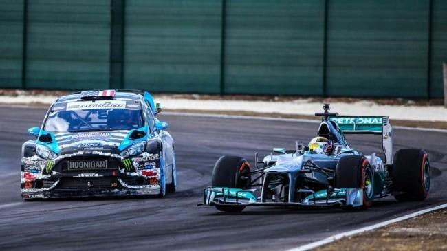 Ken Block y Lewis Hamilton