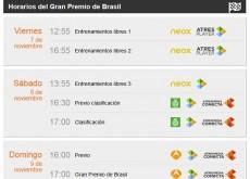 Gran Premio de Brasil de Fórmula 1: horarios