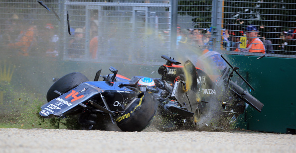 MELBOURNE, AUSTRALIA - MARCH 20:  (HIGHER RATES APPLY) Fernando Alonso of McLaren and Spain crashes heavily during the Australian Formula One Grand Prix at Albert Park on March 20, 2016 in Melbourne, Australia.  (Photo by Alex Coppel/Herald Sun/Getty Images)