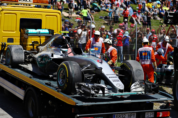 MONTMELO, SPAIN - MAY 15: The car of Nico Rosberg of Germany and Mercedes GP on a truck after he crashed on the first lap during the Spanish Formula One Grand Prix at Circuit de Catalunya on May 15, 2016 in Montmelo, Spain.  (Photo by Clive Mason/Getty Images)