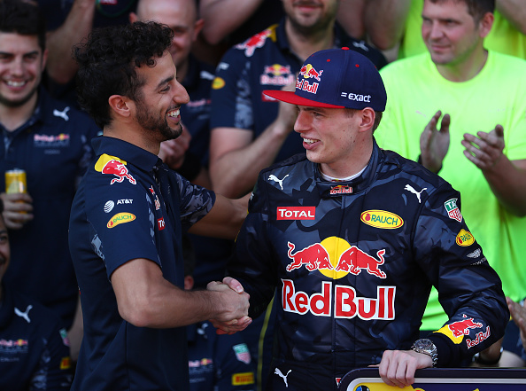 MONTMELO, SPAIN - MAY 15:  Daniel Ricciardo of Australia and Red Bull Racing congratulates Max Verstappen of Netherlands and Red Bull Racing after his first F1 win during the Spanish Formula One Grand Prix at Circuit de Catalunya on May 15, 2016 in Montmelo, Spain.  (Photo by Clive Mason/Getty Images)