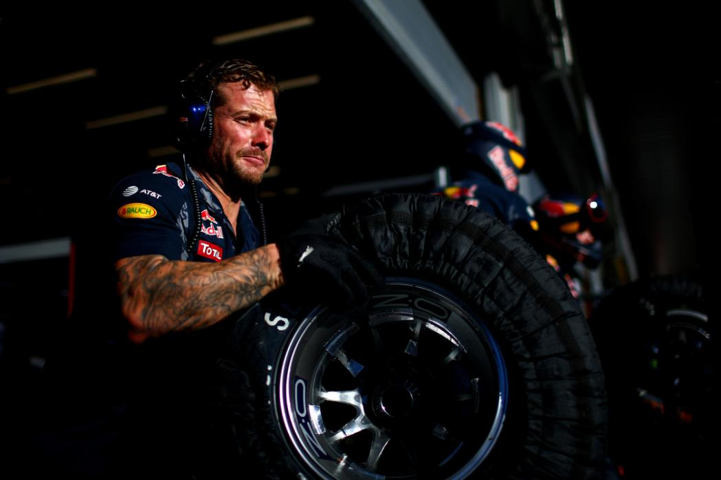 SPA, BELGIUM - AUGUST 25:  Members of the Red Bull Racing team take part in a pit stop practice session during previews ahead of the Formula One Grand Prix of Belgium at Circuit de Spa-Francorchamps on August 25, 2016 in Spa, Belgium.  (Photo by Dan Istitene/Getty Images)