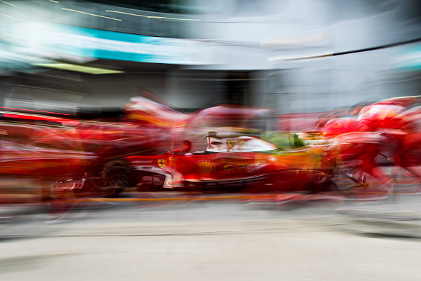 29 September 2016: Scuderia Ferrari Team mechanics practicing pitstop on the eve of the Formula 1 Petronas Malaysia Grand Prix held at Sepang International Circuit in Sepang, Malaysia.  (Photo by Hazrin Yeob Men Shah/Icon Sportswire via Getty Images)